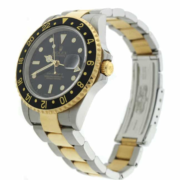 Rolex GMT-Master II 2-Tone 18K Yellow Gold & Stainless Steel Black Dial Automatic Mens Watch 16713