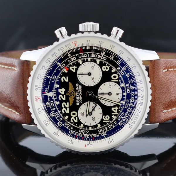 Breitling Cosmonaute (Lemania) Chronograph 42MM Black Dial Automatic Stainless Steel Mens Watch A12322