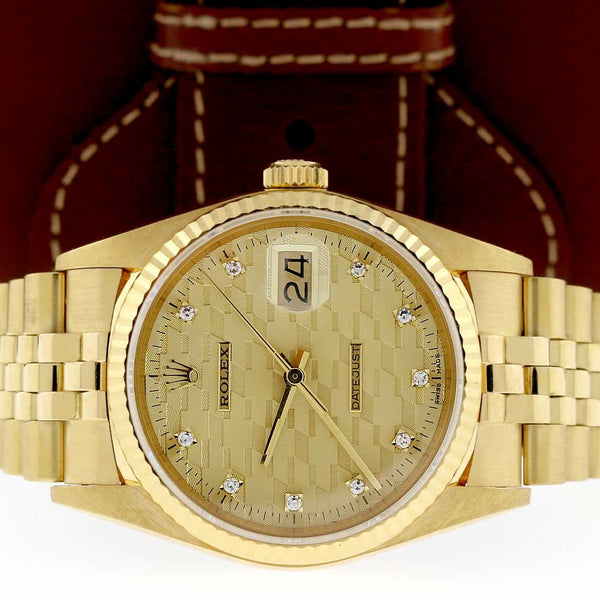 Rolex Datejust Chevrolet Award Diamond Dial 18K Yellow Gold Automatic Jubilee Watch 16018