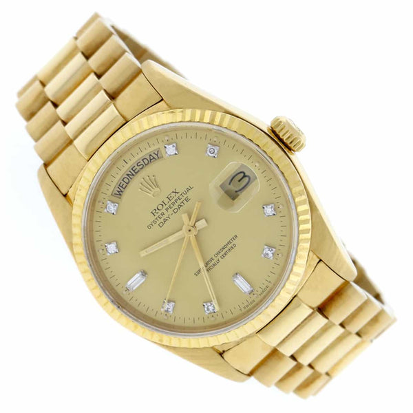 Rolex President Day-Date Original Champagne Diamond Dial 18K Yellow Gold 36MM Automatic Mens Watch 18038
