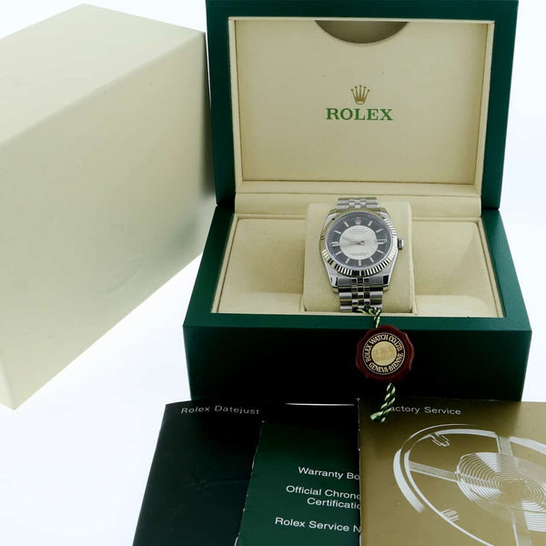 Rolex Datejust 18K White Gold Bezel Tuxedo Dial 36MM Automatic Stainless Steel Mens Watch 116234