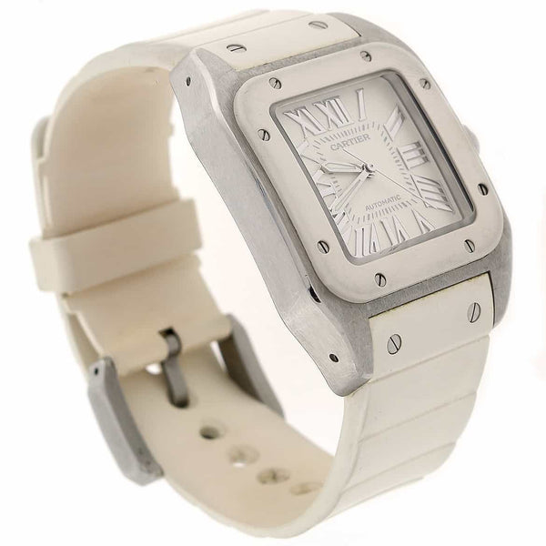 Cartier Santos White Medium 32MM Roman Dial Automatic Stainless Steel Ladies Watch W20122U2