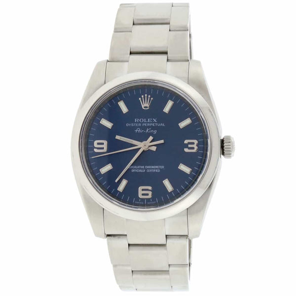 Rolex Air-King Blue Stick Dial 34MM Domed Bezel Automatic Stainless Steel Oyster Mens Watch 114200