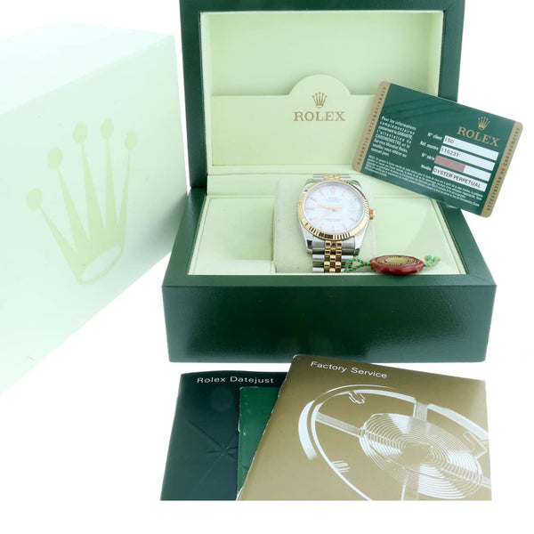 Rolex Datejust 2-Tone 18K Everose Gold & Stainless Steel Original White Stick Dial 36MM Automatic Jubilee Mens Watch 116231