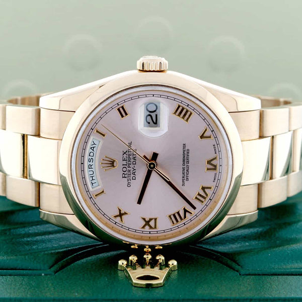 Rolex President Day-Date 18K Rose Gold Original Pink Roman Dial 36MM Oyster Automatic Mens Watch 118205