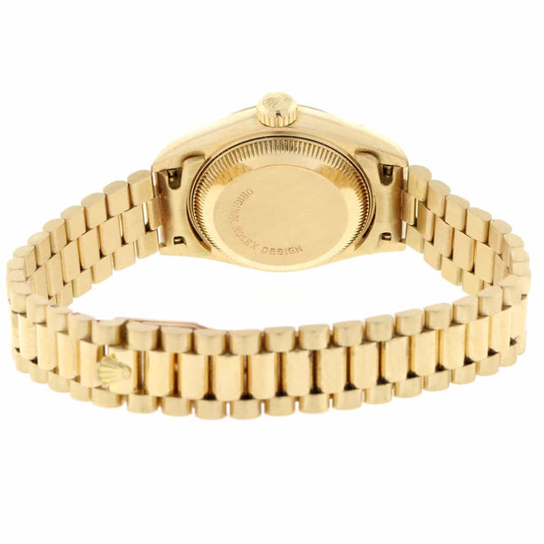 Rolex President Datejust Ladies 18K Yellow Gold 26MM Original Champagne Stick Dial Automatic Watch 69178