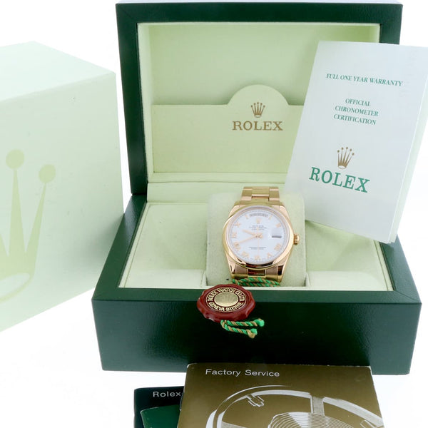 Rolex President Day-Date 18K Rose Gold Original White Roman Dial 36MM Oyster Automatic Mens Watch 118205