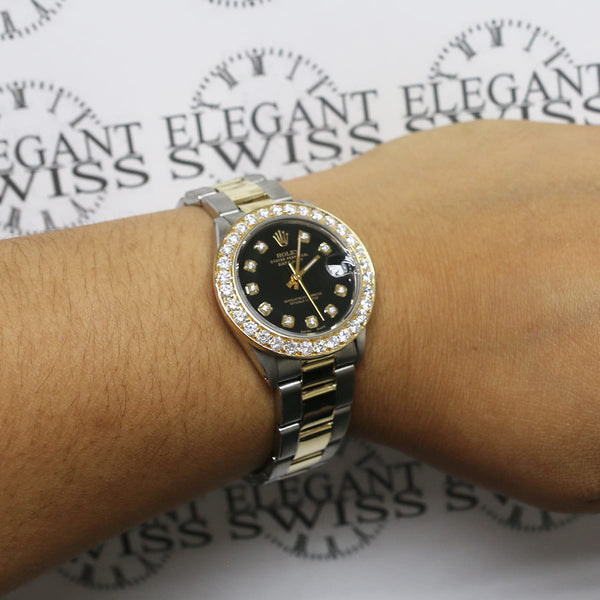 Rolex Datejust Midsize 2-Tone 18K/SS 31mm Automatic Oyster Watch with Black Diamond Dial & 18K Diamond Bezel 6824