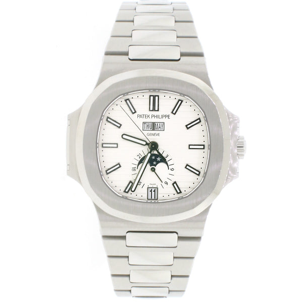 2017 Patek Philippe Nautilus Annual Calendar Moonphase 41MM White Dial Automatic Stainless Steel Mens Watch 5726/1A-010 w/Box&Papers