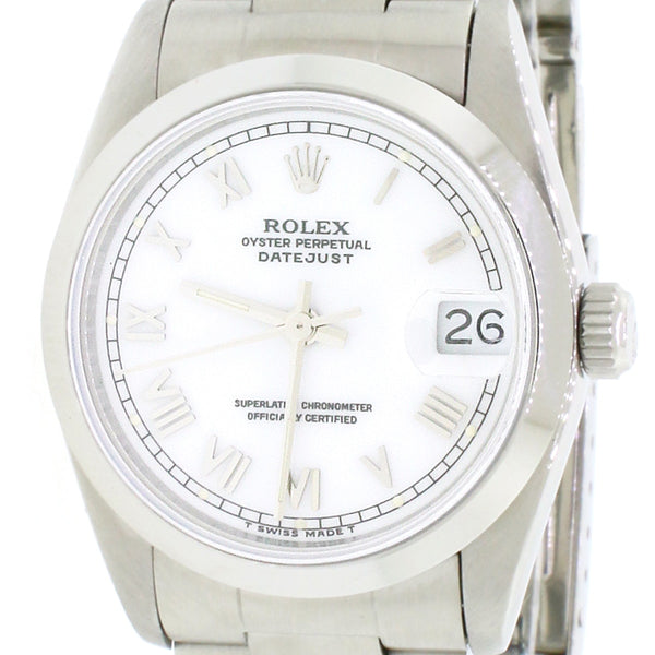 Rolex Datejust Midsize 31MM Oyster Factory White Roman Dial Smooth Bezel Steel Watch 68240