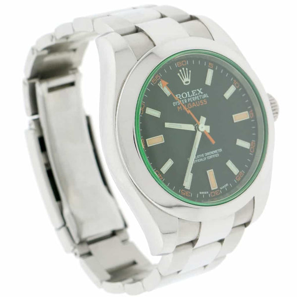 Rolex Milgauss Black Stick Dial 40mm Automatic Stainless Steel Mens Oyster Watch 116400