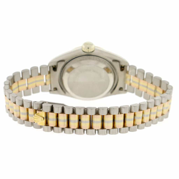 Rolex Tridor Datejust Ladies Tri-Color 26MM Original Champagne Diamond Dial President Watch 69179B
