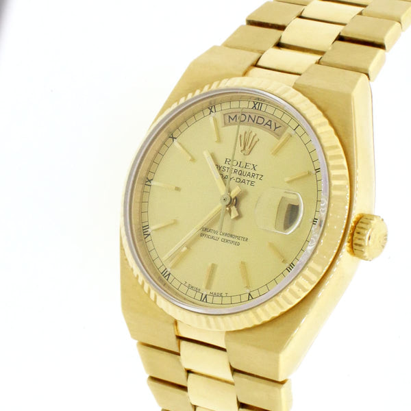Rolex Day-Date Oysterquartz 18K Yellow Gold Factory Champagne Dial 36mm Mens watch