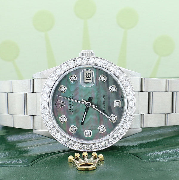Rolex Oyster Date Midsize Stainless Steel 31mm Womens Watch with Tahitian MOP Diamond Dial 1.52Ct Bezel 6466