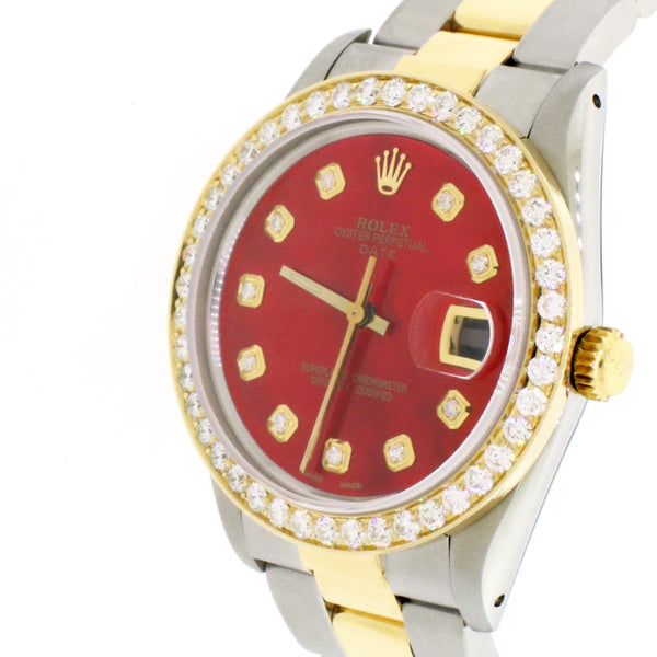 Rolex Oyster Perpetual Date 2-Tone 18K Gold/SS 34mm Automatic Oyster Watch w/Candy Red MOP Diamond Dial & 1.8Ct Bezel