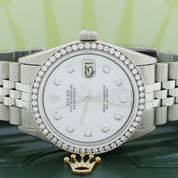 Rolex Datejust 36MM Automatic Stainless Steel Watch with White MOP Dial & Diamond Bezel
