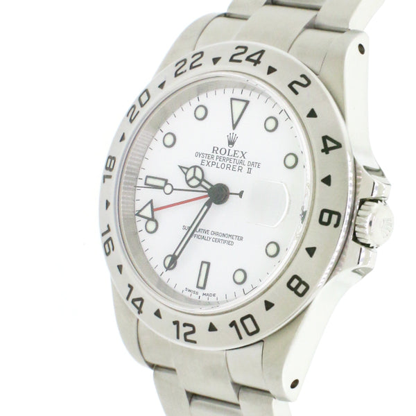 Rolex Explorer II GMT 40MM White Dial Automatic Stainless Steel Mens Oyster Watch 16570