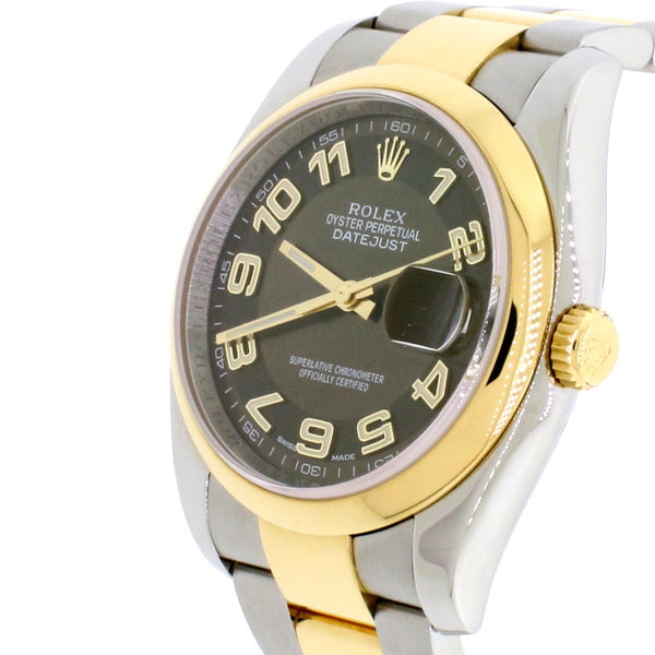 Rolex Datejust 36mm Steel & Gold Rehaut engraved Brown dial Unisex Automatic Watch 116203