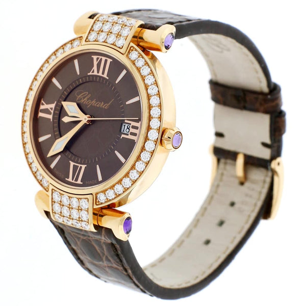 Chopard Imperiale 18K Rose Gold Factory Diamond Bezel Chocolate Dial 36MM Ladies Watch 384221-5011