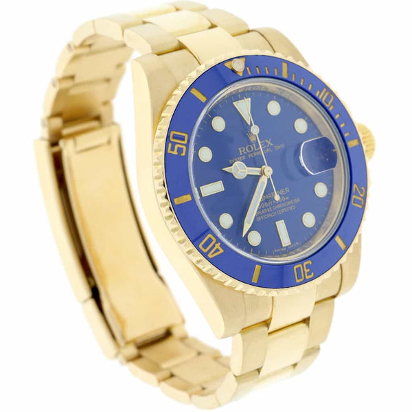 Rolex Submariner Date 18K Yellow Gold Blue Ceramic Bezel/Dial 40MM Automatic Mens Oyster Watch 116618