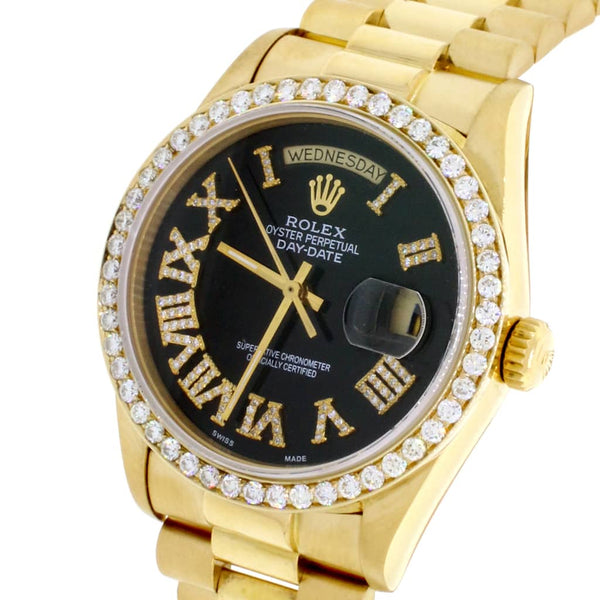 Rolex President Day-Date 18K Yellow Gold 36MM Automatic Mens Watch w/Black Roman Diamond Dial & Bezel