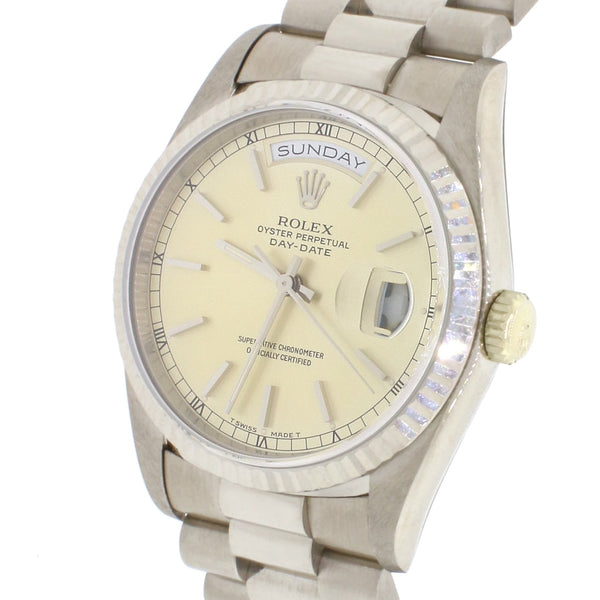 Rolex President Day-Date 18K White Gold 36MM Double-Quick Factory Index Dial Automatic Mens Watch 18239