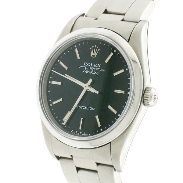 Rolex Air-King Factory Black Index Dial 34MM Automatic Stainless Steel Oyster Watch 14000