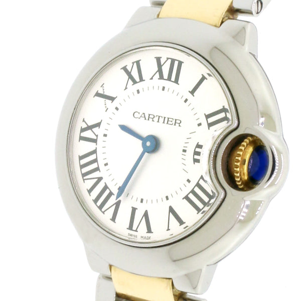 Cartier Ballon Bleu Ladies 2-Tone 18K Yellow Gold & Steel Factory Silver Roman Dial 28mm Watch W2BB0010 Box & Papers