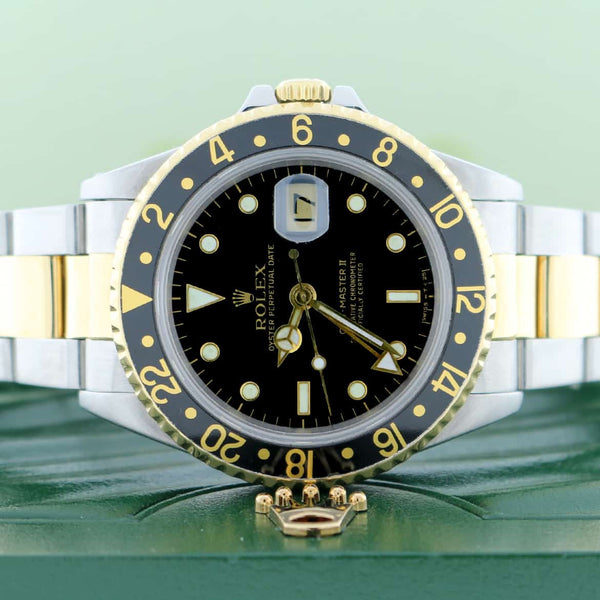 Rolex GMT-Master II 2-Tone Yellow Gold & Stainless Steel Black Bezel Automatic Mens Watch 16713