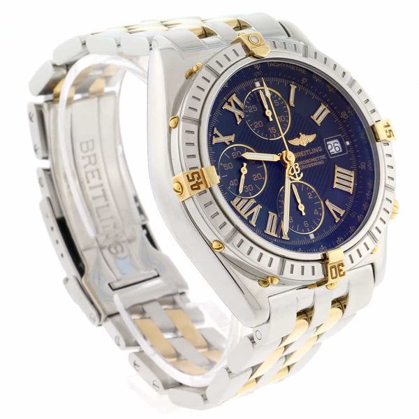 Breitling Crosswind 2-Tone 18K Yellow Gold & Stainless Steel Blue Roman Dial 43MM Chronograph Automatic Mens Watch B13355