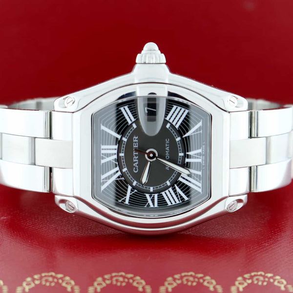 Cartier Roadster Black Roman Dial 35mm Automatic Steel Watch W62041V3 Box Papers