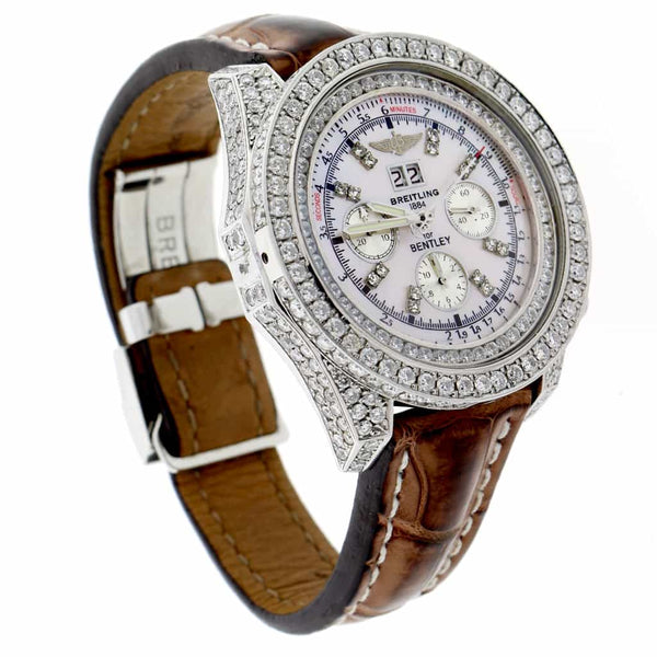 Breitling Bentley 6.75 Chronograph Big Date Custom MOP Dial Automatic Mens Custom Diamond Watch A44362