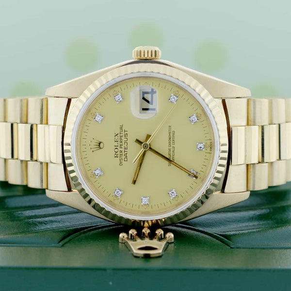 Rolex President Datejust 18K Yellow Gold Original Diamond Dial Automatic Mens Watch 16018