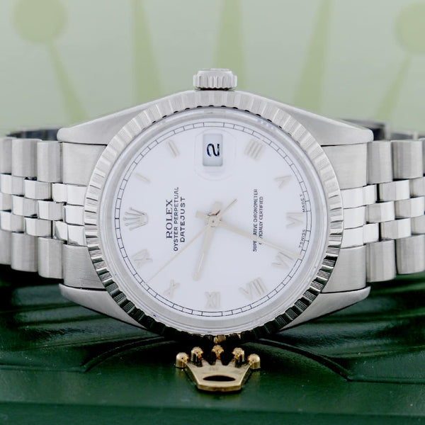 Rolex Datejust Original White Roman Dial 36MM Automatic Stainless Steel Jubilee Mens Watch 16220