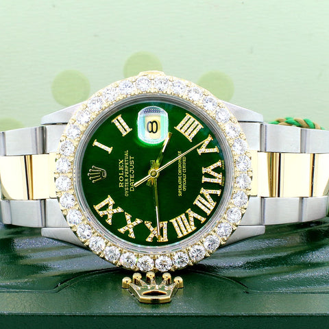 Rolex Datejust 2-Tone 18K Yellow Gold/Stainless Steel 36mm Automatic Oyster Watch w/Emerald Green Diamond Dial & 4.0Ct Bezel