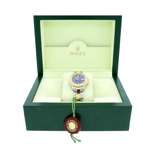 Rolex Yacht-Master Ladies 2-Tone 18K Yellow Gold/Stainless Steel Factory Blue Dial 28MM Automatic Oyster Watch 69623