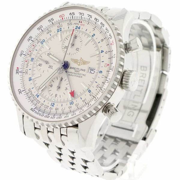 Breitling Navitimer World 46MM Chronograph GMT Cream Dial Automatic Stainless Steel Mens Watch A24322