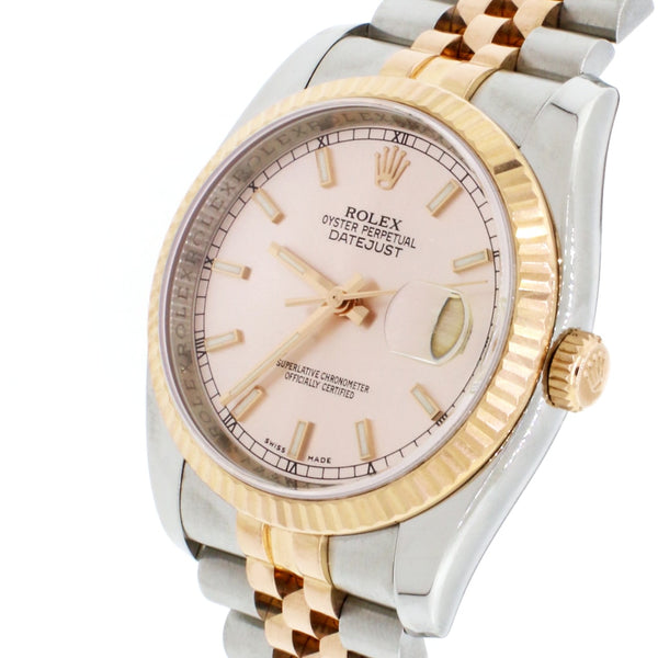 Rolex Datejust 2-Tone 18K Everose Gold & Stainless Steel Factory Pink Champagne Dial 36MM Automatic Jubilee Mens Watch 116231