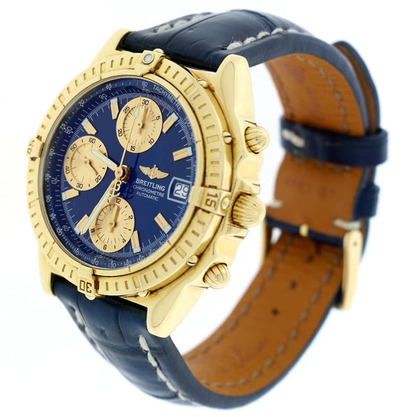 Breitling Chronomat Windrider 18K Yellow Gold Original Blue Dial 39MM Automatic Mens Watch K13352