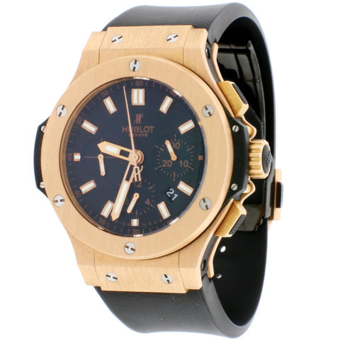 Hublot Big Bang 18K Rose 44MM Black Index Dial Chronograph Automatic Mens Watch 301.PX.1180.RX
