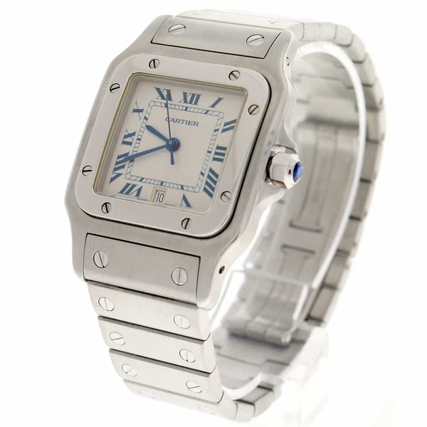 Cartier Santos Galbee Large 29MM Silver Roman Dial Stainless Steel Watch W20060D6