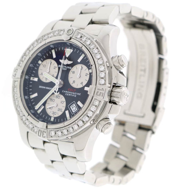 Breitling Chrono Colt Black Concentric Dial 41MM Stainless Steel Mens Watch w/Diamond Bezel A73380