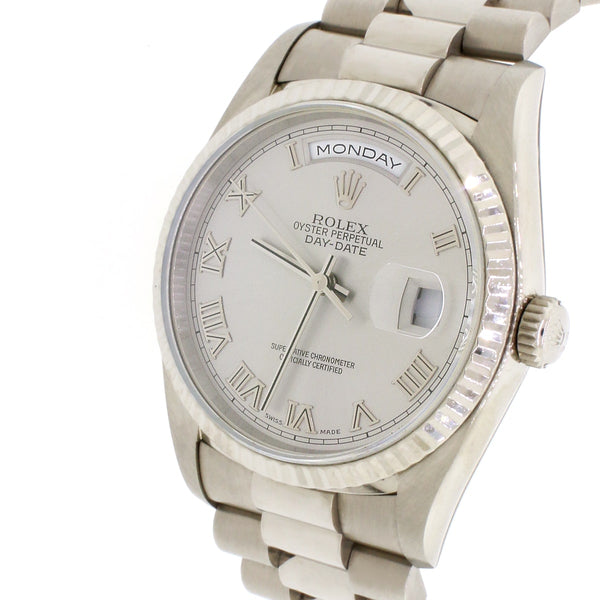 Rolex President Day-Date 18K White Gold T series Serviced in 2016 36MM Double-Quick Factory Roman Dial Automatic Mens Watch 18239