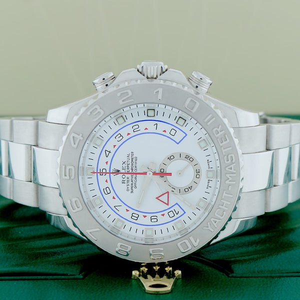 Rolex Yacht-Master II 18K White Gold 44mm Platinum Bezel Automatic Oyster Watch 116689