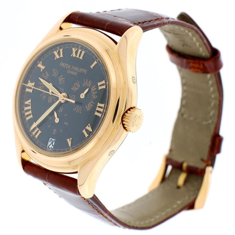 Patek Philippe Calatrava 18K Rose Gold Annual Calendar 37MM Black Roman Dial Watch 5035R