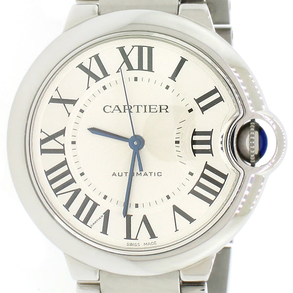 Cartier Ballon Bleu Midsize Stainless Steel 36MM Automatic Watch W6920046 w/Box&Papers