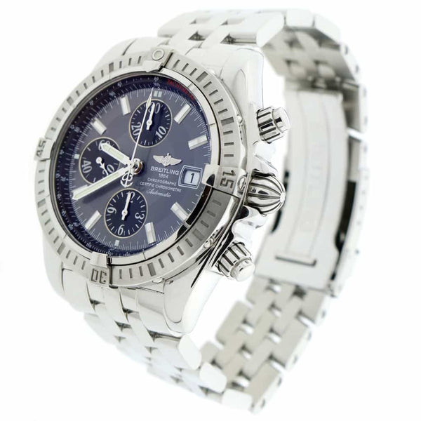 Breitling Chronomat Evolution Chronograph 44MM Grey Concentric Dial Automatic Stainless Steel Mens Watch A13356