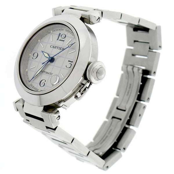 Cartier Pasha Midsize Silver Grid Dial 35MM Automatic Stainless Steel Watch W31023M7