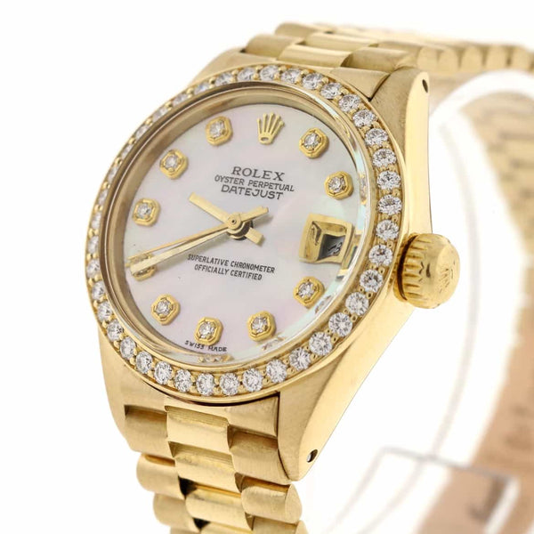Rolex President Datejust Ladies 18K Yellow Gold 26MM Automatic Watch with MOP Diamond Dial & Bezel