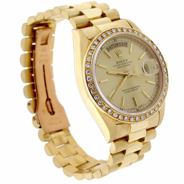Rolex President Day-Date 18K Yellow Gold Original Champagne Dial 36MM Watch w/Diamond Bezel